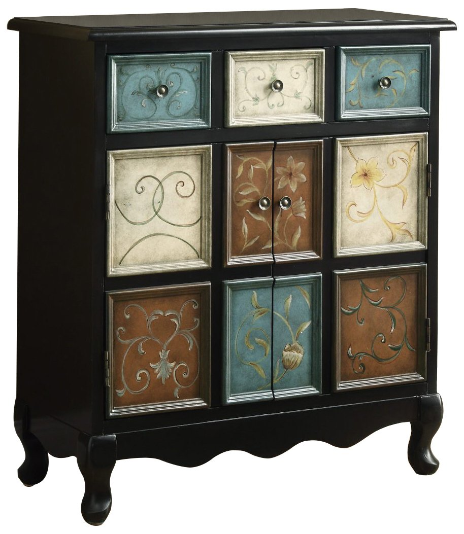Monarch Apothecary Bombay Chest, Distressed Black/Multi-Color - Elegant transitional shape Made of wood Distressed hand-painted multicolor finish - dressers-bedroom-furniture, bedroom-furniture, bedroom - 71 utSCDU6L -