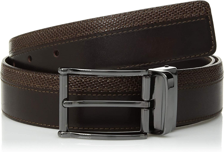 Bugatchi Mens Fashion Dress Leather Belt Two Textures