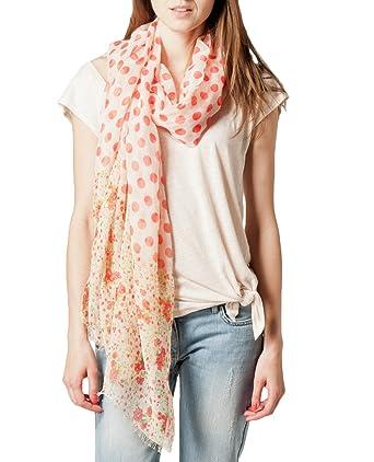 543d56fc04c Kookai - Echarpe Imprimée Pois et Fleurs - Femme - Rouge (Coquelicot) -  Taille