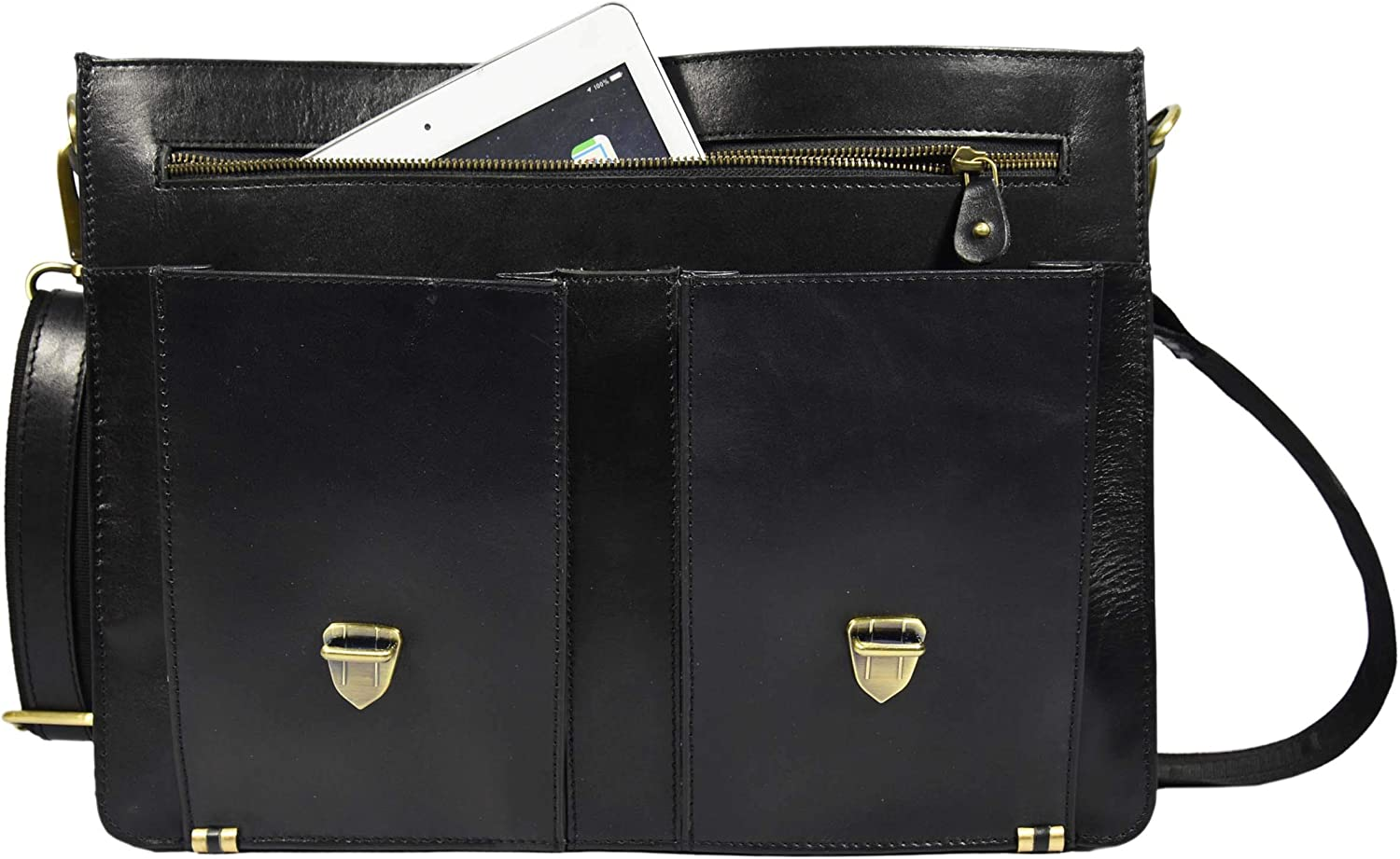 Hickory 15.5 Leather Briefcase Messenger Bag for Laptop by Aaron Leather