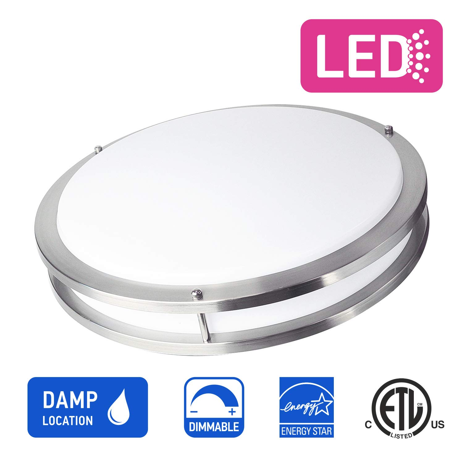 OSTWIN 18'' Large Size LED Ceiling Light Fixture Flush Mount, Dimmable, Round 28 Watt (180W Repl.) 5000K Daylight, 1960 Lm, Nickel Finish with Acrylic Shade ETL and Energy Star Listed by OSTWIN (Image #3)