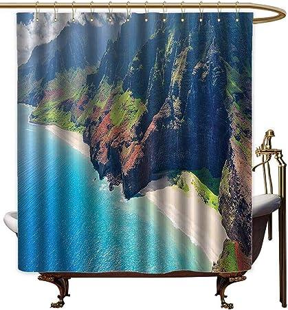 Cortinas de ducha de tela blanca, decoración hawaiana, cielo nublado, barco, palmeras en el mar, playa arenosa, paisaje de Tailandia, cortina de Blueshower verde para pequeño mampara de ducha: Amazon.es: Hogar