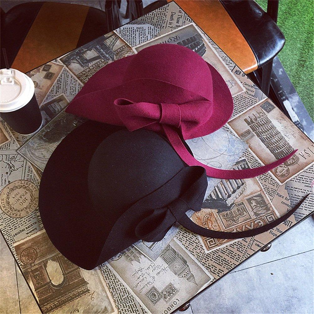 Easy Go Shopping con Otoño e Invierno El Gorro de Lana con Shopping un Color Liso y un Gorro pequeño (Color : Rojo) 5946d4