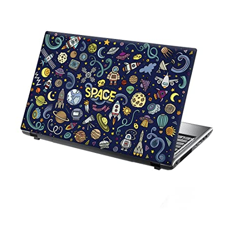 TaylorHe 15.6 inch 15 inch Laptop Skin Vinyl Decal with Colorful Patterns and Leather Effect Laminate MADE IN England Blue Stars in Space