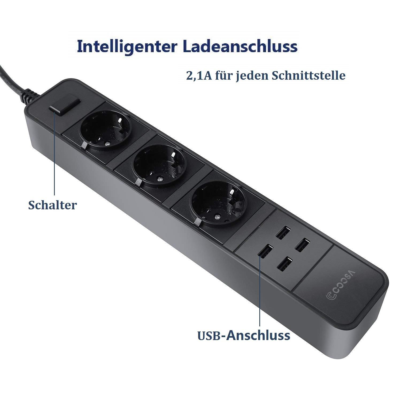 COOSA 3 Fach Steckdosenleiste mit Schalter + 4 Port USB: Amazon.de ...