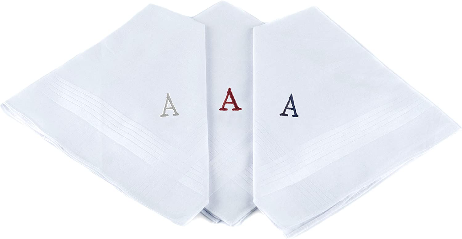 Personalised//initial embroidered Handkerchief 100/% COTTON Giftable Box//Christmas Gift//Wedding Gift.Letter L