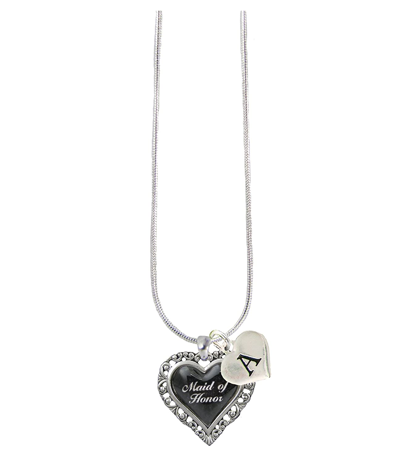 Custom Black Heart Maid of Honor Silver Necklace Wedding Jewelry Choose Initial