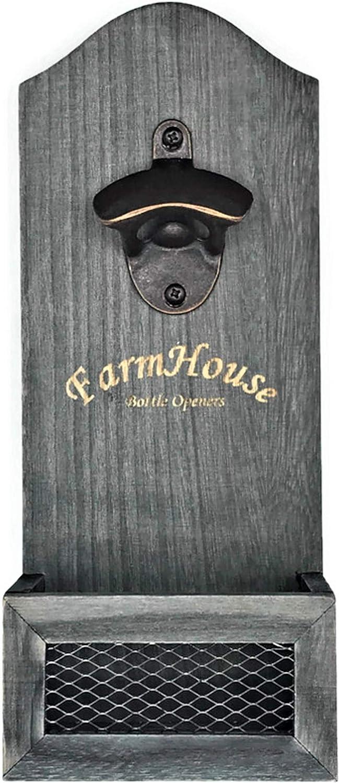 Wall-Mounted Bottle Opener - Premium Wall Mounted Rustic Dark Gray Bottle Opener (Includes Mounting Hardware)