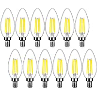 12-Pack HueLiv 40 Watt Dimmable E12 LED Candelabra Bulbs