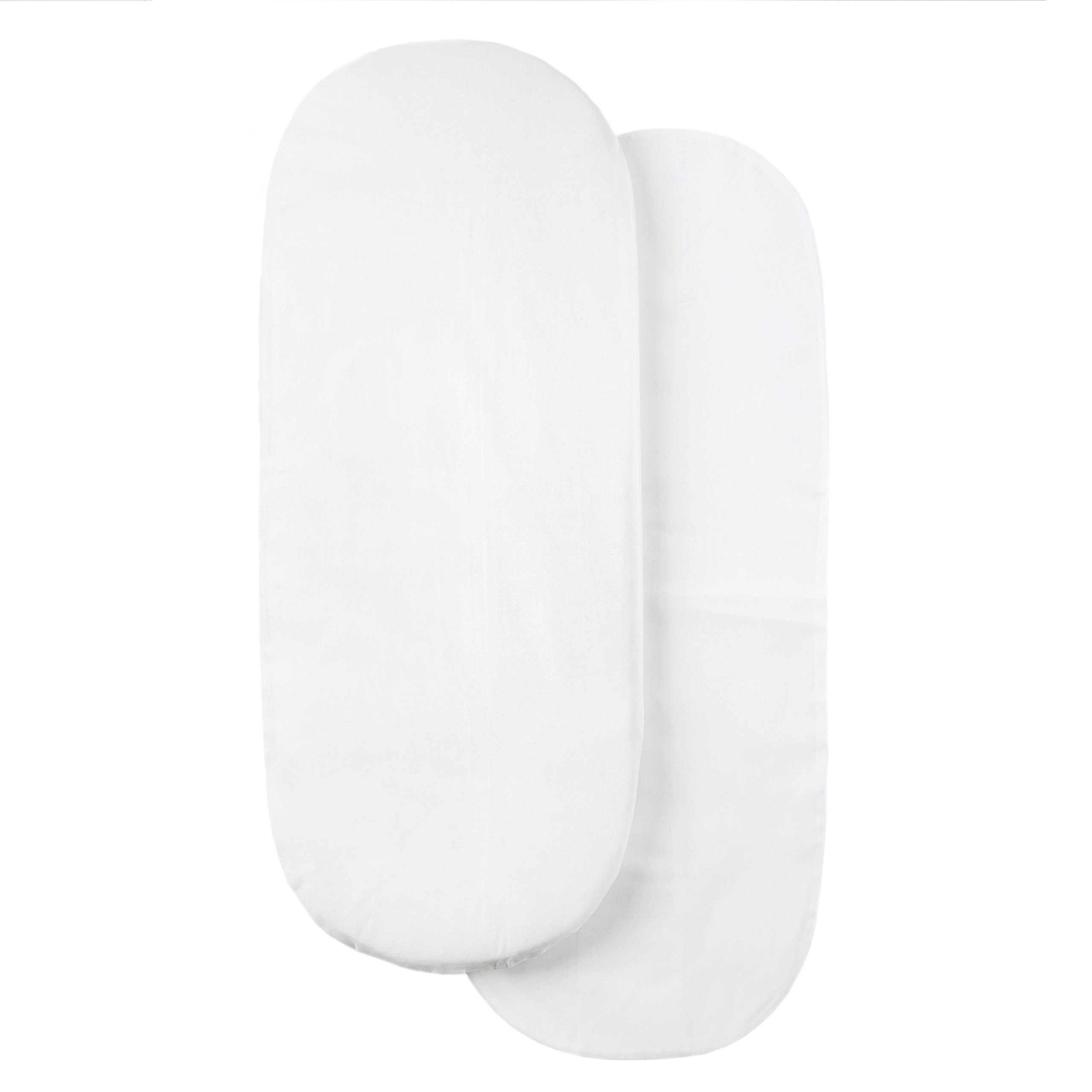 Tadpoles Moses Basket Foam Pad with Removable Cotton Covers, White, (Pack of 2) by Tadpoles