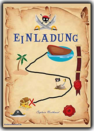 Einladungskarten Set Als Schatzkarte Piraten Party Pirat Schatzsuche Jungen  Mädchen   12 Stück Schatzinsel Einladung