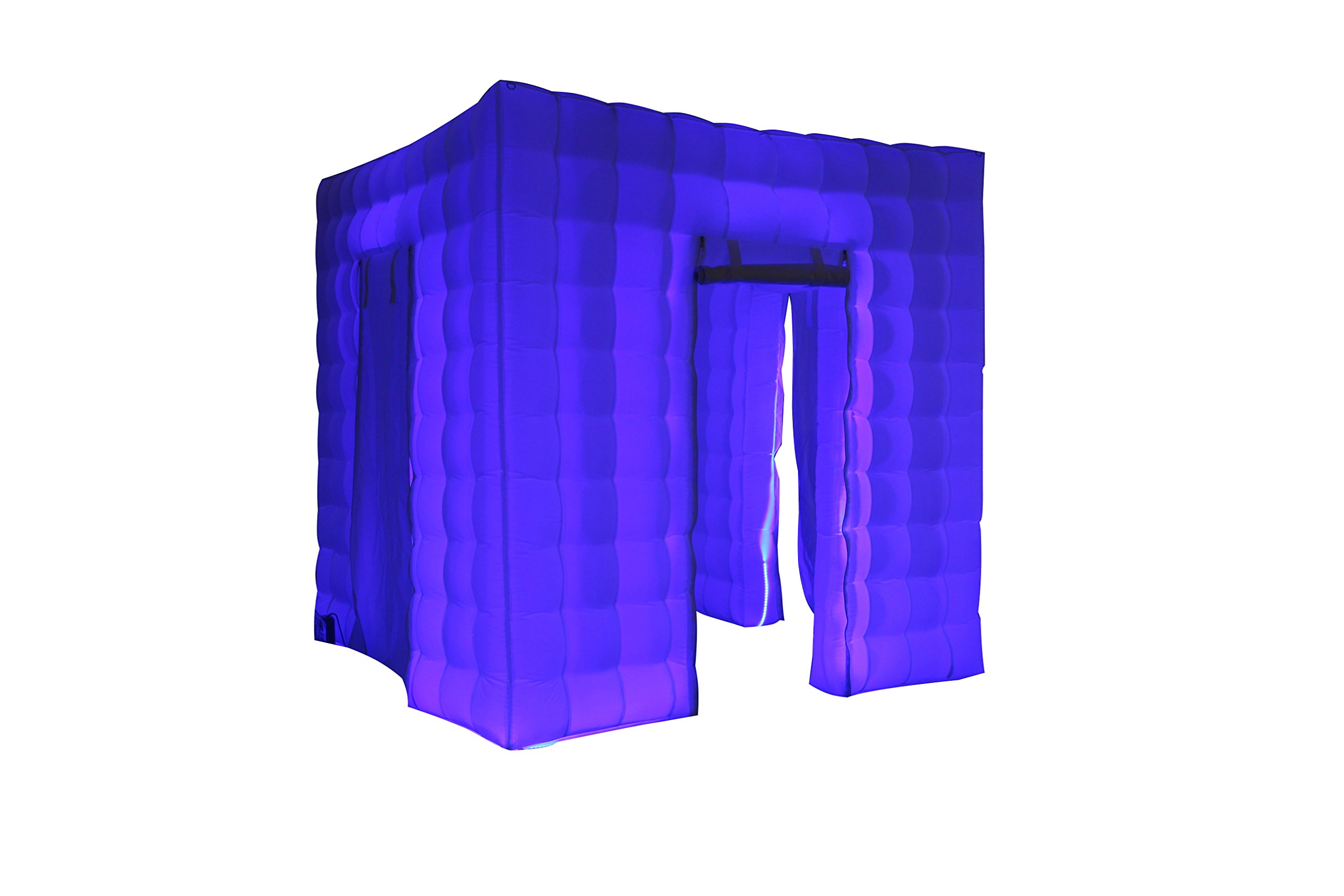 Stagerbooth® Inflatable Portable Photo Booth Enclosure with 16 Colors LED Changing Lights and Inner Air Blower for Weddings Parties Promotions Advertising (three doors)