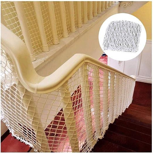 Red de Seguridad Niños Escalera Mascota la Seguridad Escalera Protector, Balcón Y Escalera Barandilla Cerca Alpinismo Tejido Cuerda Carga Red de Remolque Red de Decoración - Blanco: Amazon.es: Hogar