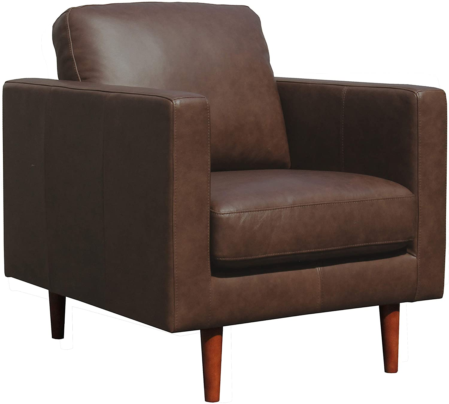 Amazon Brand – Rivet Revolve Modern Leather Armchair with Tapered Legs, 33