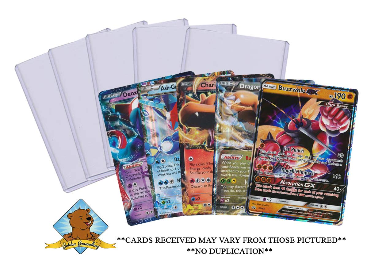 5 Oversized Pokemon Jumbo Cards No Duplication! Includes 5 Top Loaders! GX EX Promo MEGA All Oversize! by Golden Groundhog by Pokemon (Image #1)