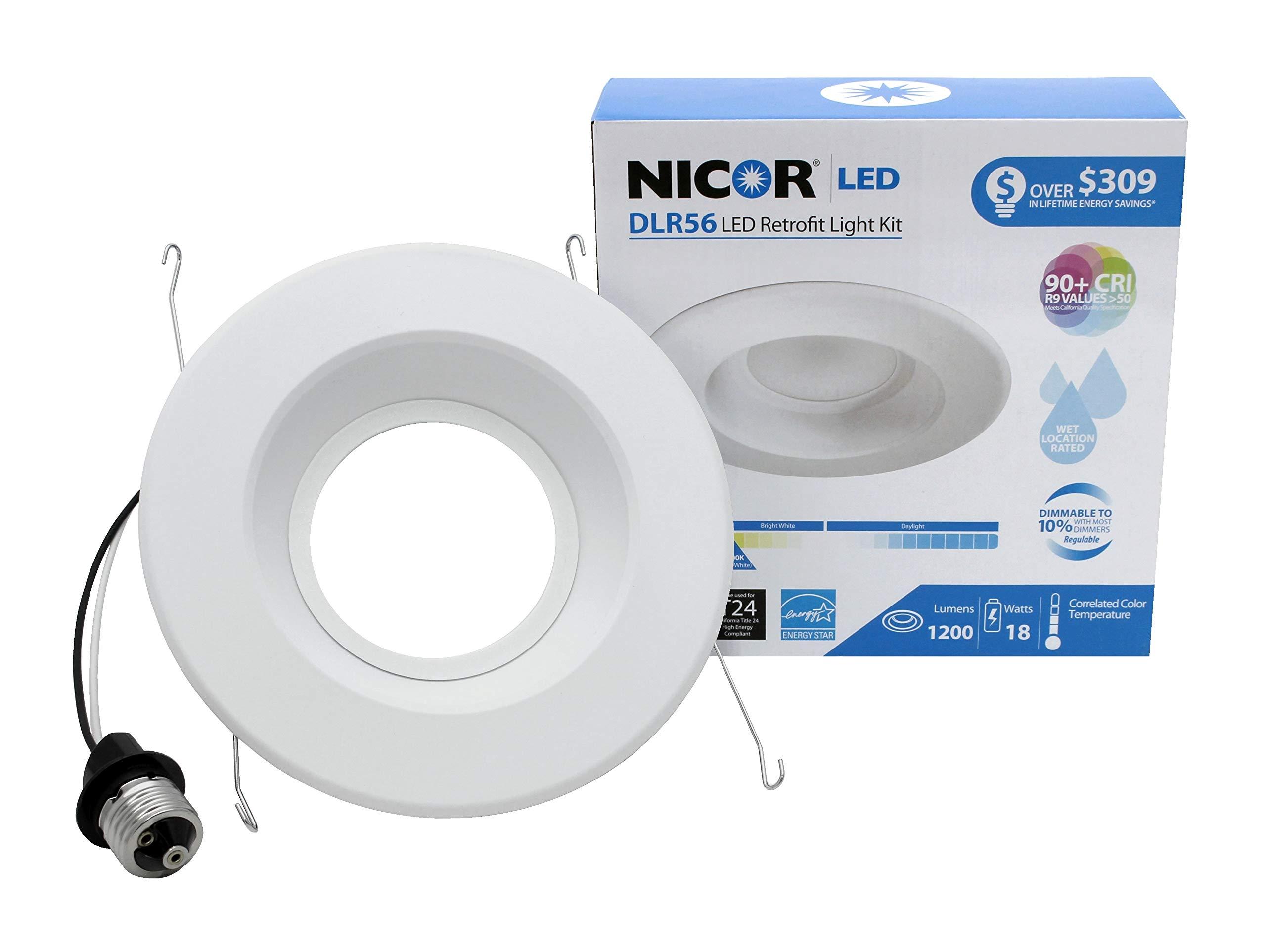 NICOR Lighting 5/6-Inch Dimmable 1200-Lumen 5000K LED Downlight Retrofit Kit for Recessed Housings, White Trim (DLR56-3012-120-5K-WH)