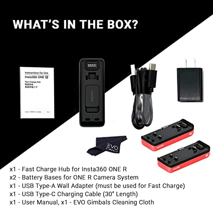 Insta360 Fast Charge Hub for Insta360 ONE R Camera System Bundle with 1 Battery Base 2 Items