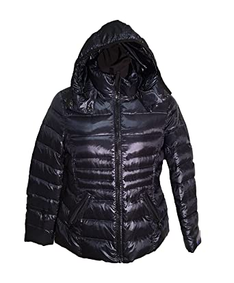 fe679b1b016 Andrew Marc Hooded Premium Down Jacket for Women (XS, Shine Dark Indigo)