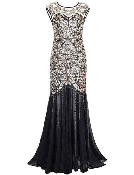 9ad6ef1f072 kayamiya Women s 20s Beaded Floral Maxi Long Gatsby Flapper Prom Dress S  Gold