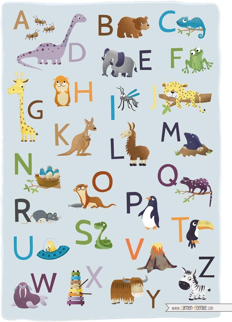 Frechdax/® ABC Poster pour Chambre denfant Alphabet Affiche dapprentissage Format A2 Allemand 42 cm x 59,4 cm ABC des Animaux DIN A4