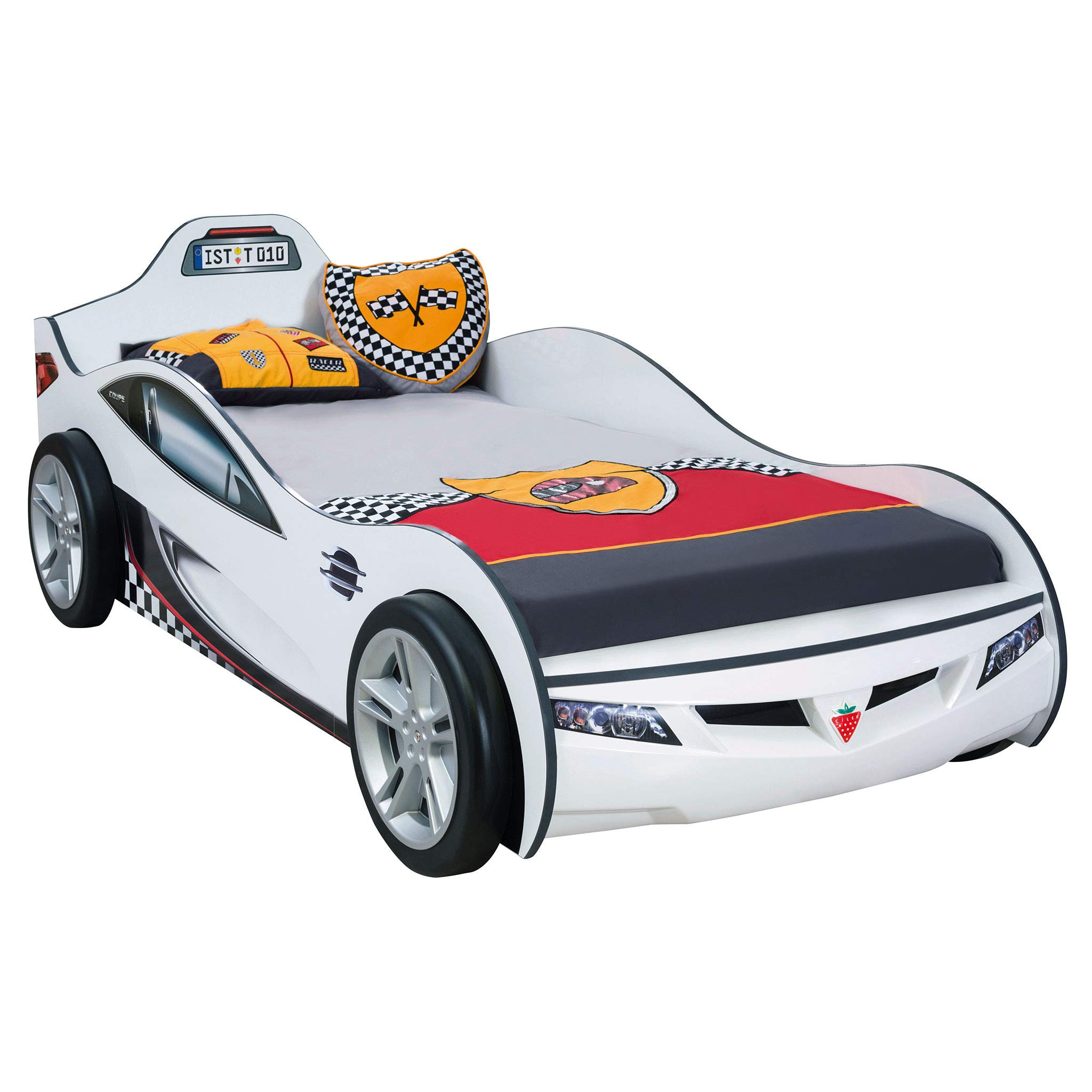 Cilek Kids Room Cup White Twin Race Car Bed, by Cilek Kids Room