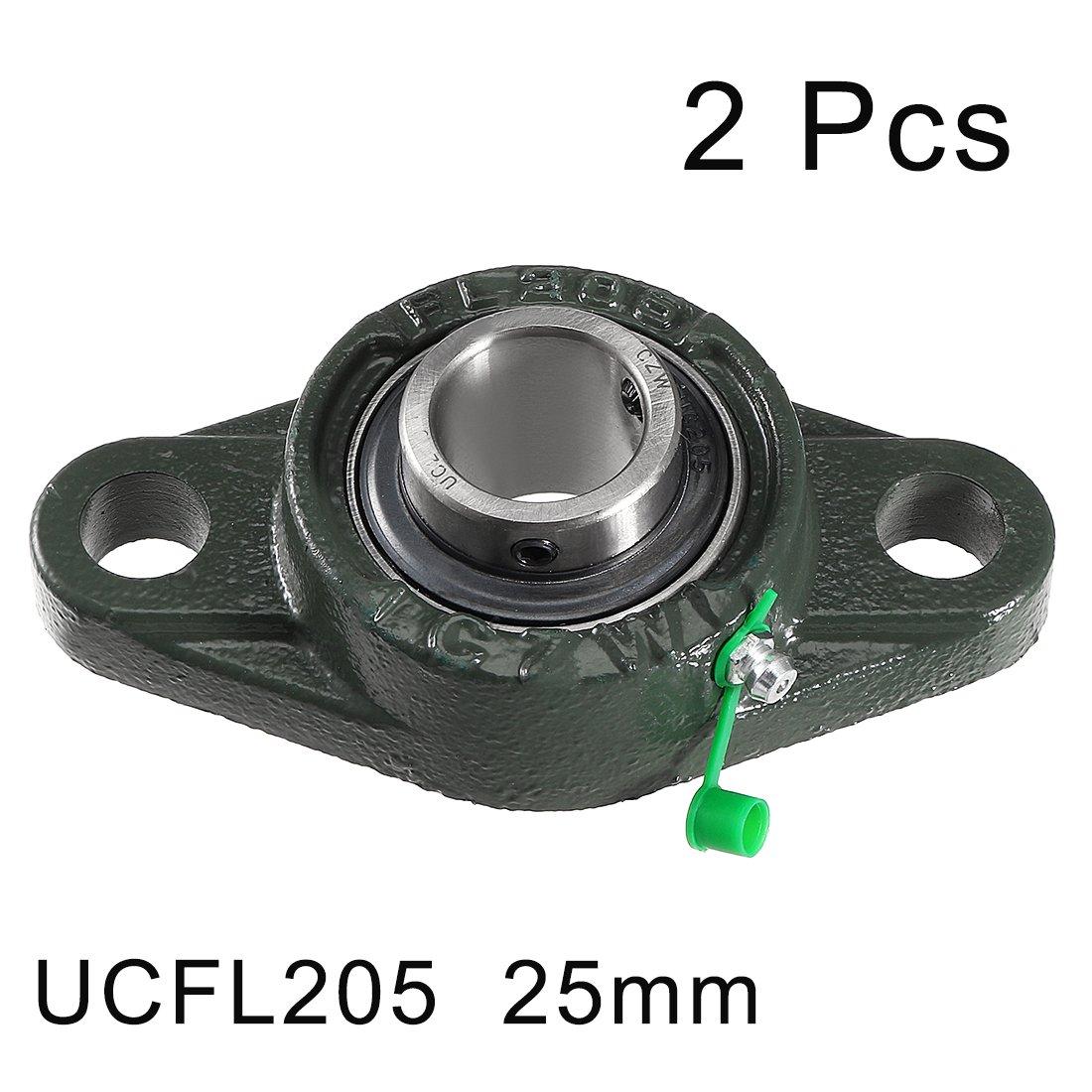 uxcell 2pcs Pillow Block Bearing UCFL202 15mm Mounted Bear Two Boltflange Cast Hosing