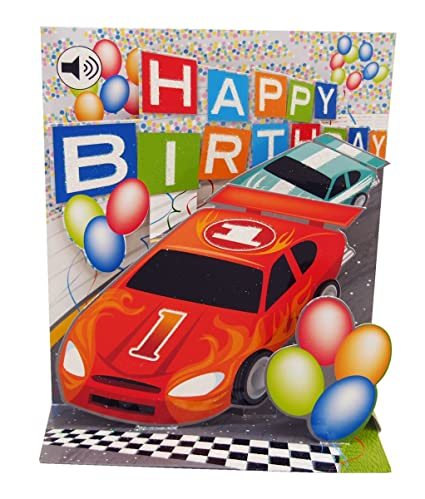 3D Pop Up Racing Car Birthday Card With Sound Effects Amazoncouk Kitchen Home