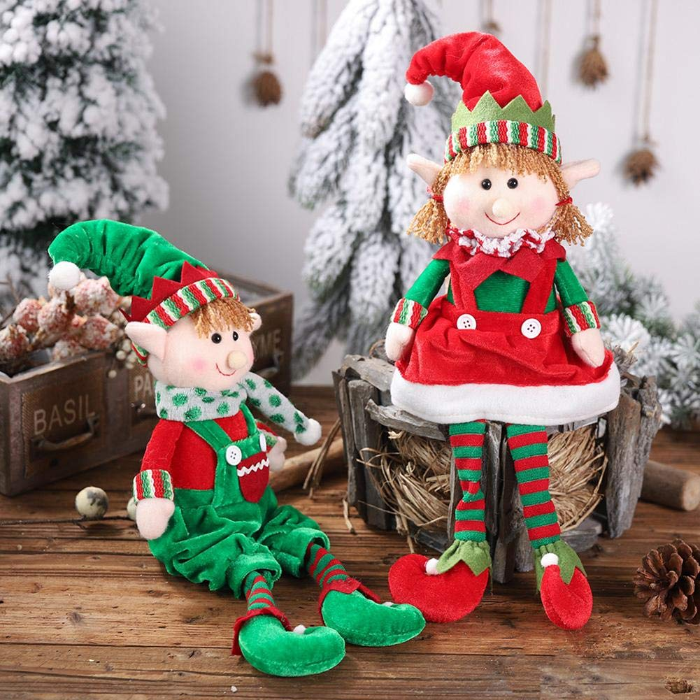 Christmas Elf Doll Toys Boy and Girl Elves Stuffed Toys Table Decoration for Home Ornaments Kids Birthday Holiday