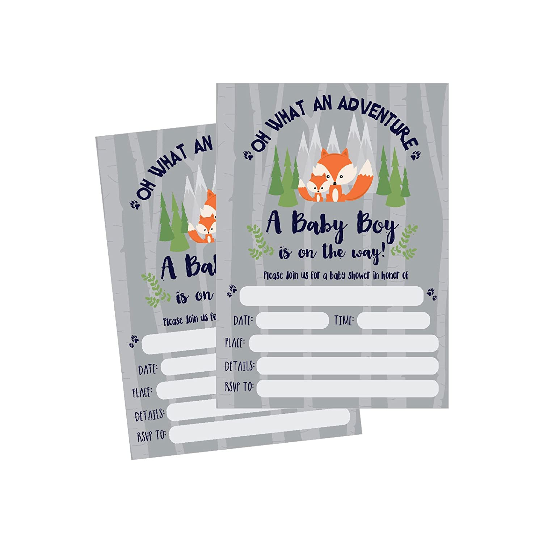 50 Fill in Fox Baby Shower Invitations, Baby Shower Invitations Woodland, Custom, Rustic, Jungle, Forest, Neutral, Baby Shower Invites for Boy, Baby Shower Invite Cards, Baby Invites Printable Hadley Designs