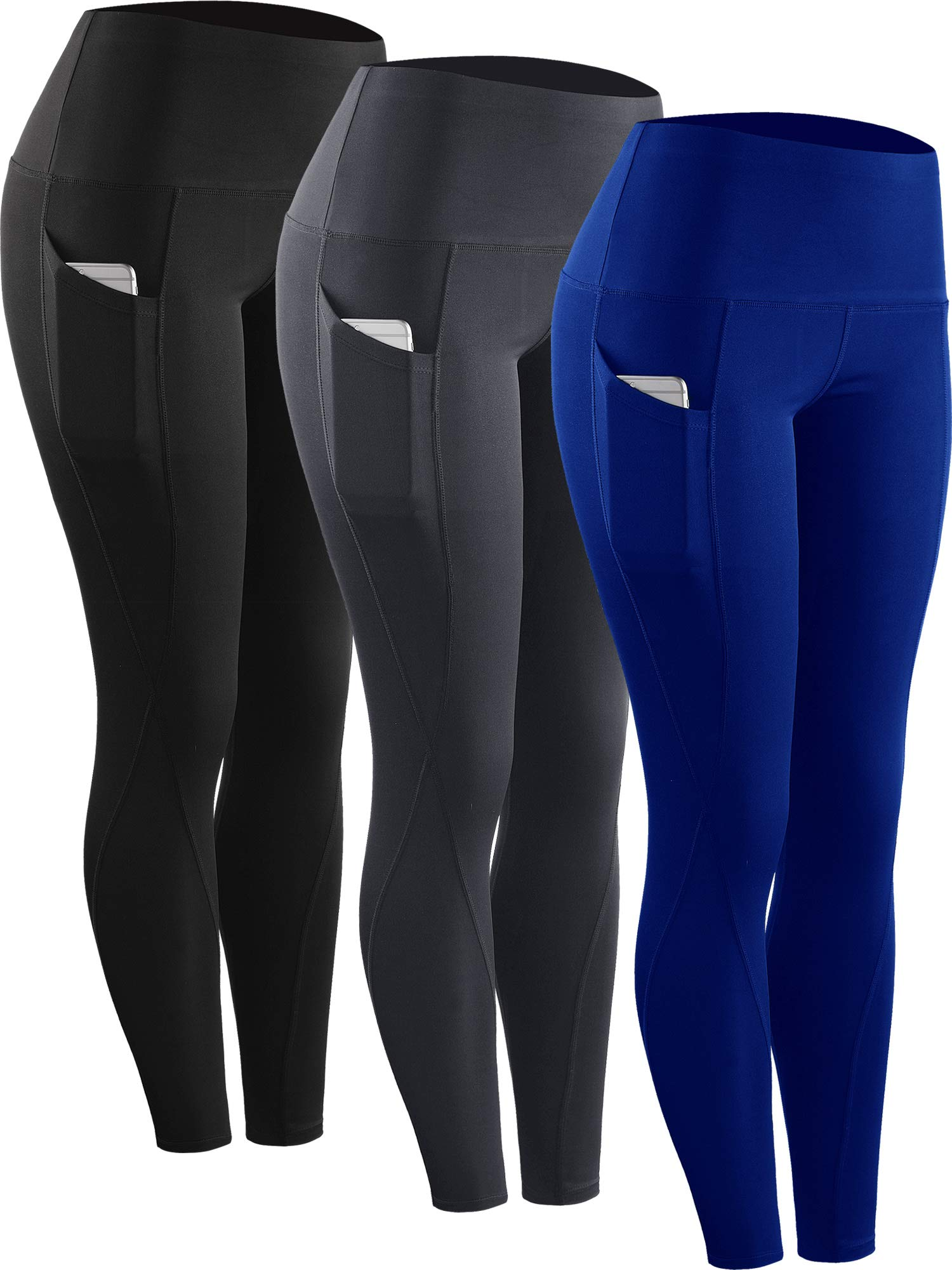 Neleus 3 Pack Tummy Control High Waist Running Workout Leggings,9017,Black,Grey,Blue,US 2XL,EU 3XL by Neleus