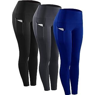 Neleus 3 Pack Tummy Control High Waist Running Workout Leggings,9017,Black,Grey,Blue,US XL,EU 2XL