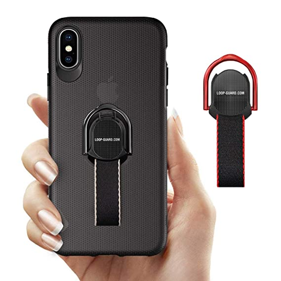 big sale bd100 34bc2 LAVAVIK iPhone X/XS Case with Finger Straps & Ring Holder Kickstand, Slim  Fit Hard Cover with Grips Loop for Apple iPhone X/10/XS, Support Magnetic  ...