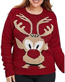 e151148d492a0 Kenancy Women Christmas Sweater Dress Long Sleeve Reindeer Elk Print  Knitted Pullover Sweatshirt