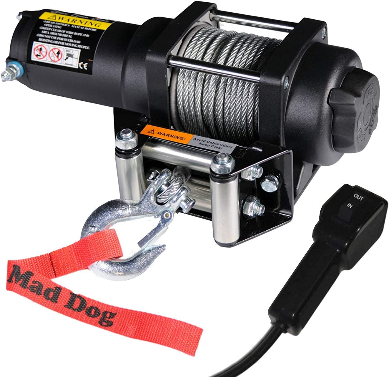 3500lb Mad Dog Synthetic Winch//Mount for 2013-2018 Can-am Maverick 1000