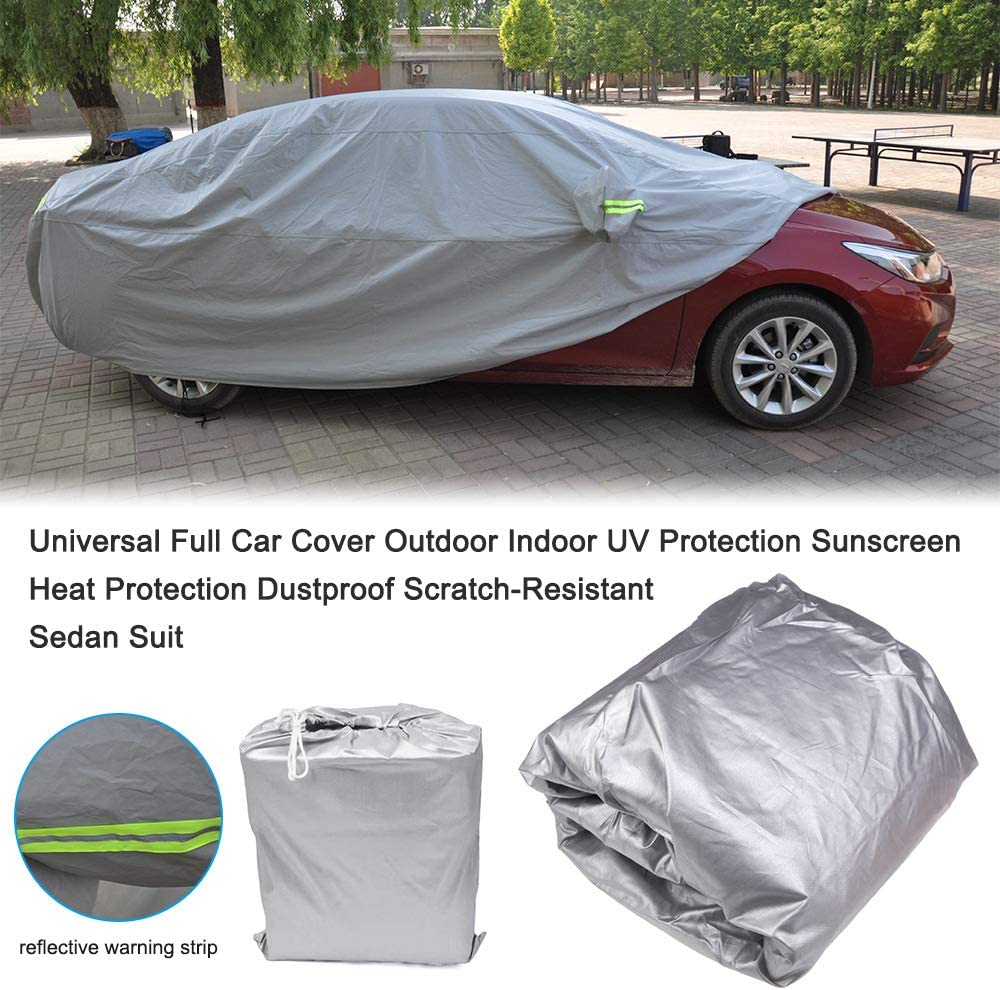 L//457 165 119cm VISLONE Car Cover Universal UV Protection,Waterproof Dustproof Rain Snow Scratch-Resistant Sunscreen Full Car Covers for Sedan//SUV with Reflective Strip