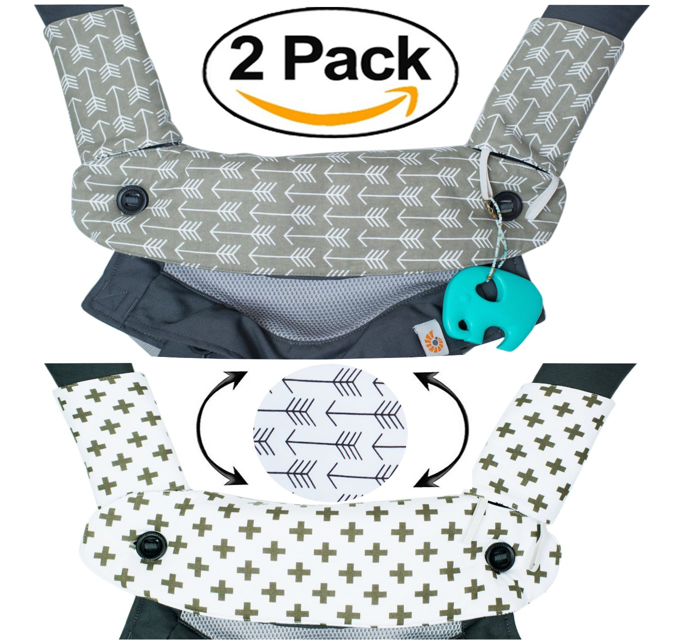Premium 2 Packs Drool and Teething Reversible Cotton Pad   Fits Ergobaby Four Position 360 and Most Baby Carrier   Gray Arrow Cross Design   Hypoallergenic   Great Baby Shower Gift by Mila Millie