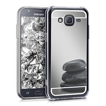 kwmobile Funda para Samsung Galaxy J5 (2015) - Carcasa Protectora Trasera de TPU para móvil en Plateado con Efecto Espejo