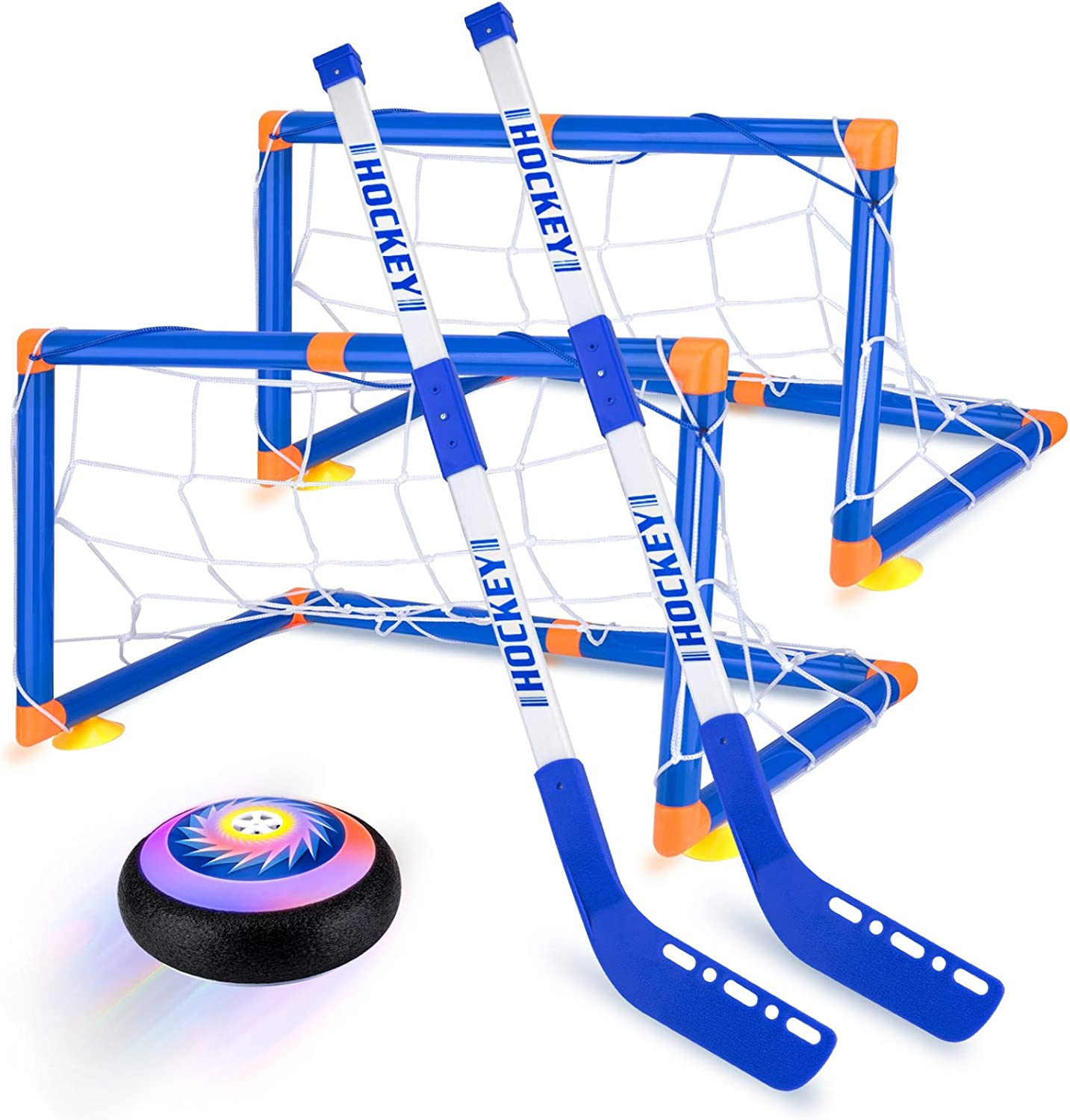 Hover Hockey Set Boys Toys, Hovering Hockey Game with 2 Goals and Led Lights, Indoor Air Soccer Hover Ball Gifts for 3 4 5 6 7 8 9 10 11 12 Year Old Kids: Toys & Games