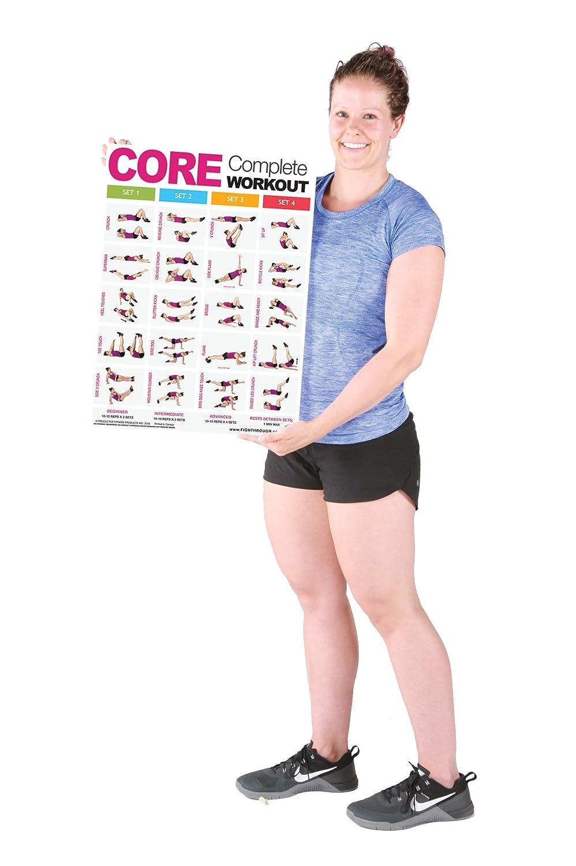 Core completo entrenamiento - laminated chart/entrenamiento Póster - M - fuerza y entrenamiento cardiovascular - Core - ABS - abdomen - oblicuo - Construir ...