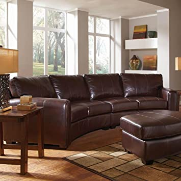 Amazon.com: CORNELL Curved sofá seccional de piel regenerada ...