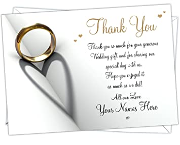 Wedding Thank You Cards.Personalised Wedding Thank You Cards Wty 009 Pack Of 52
