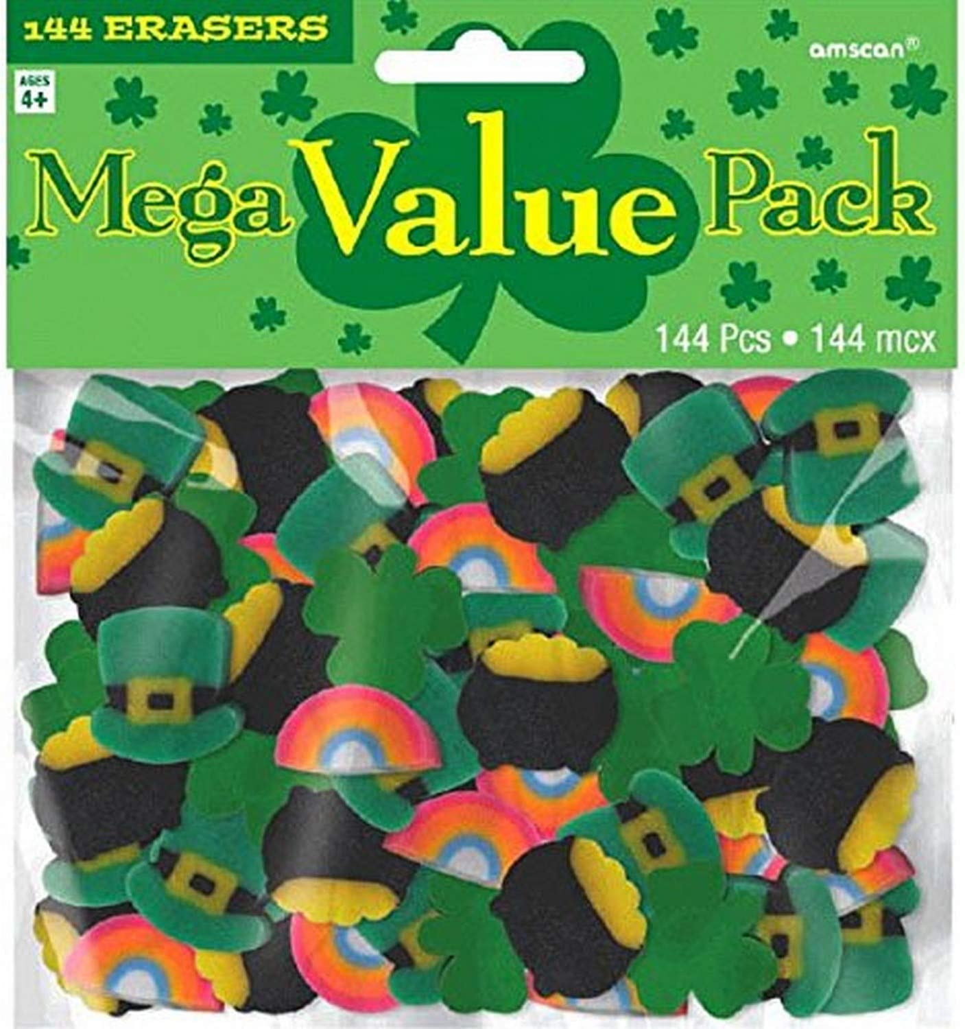 Amscan 394944 St. Patrick's Day Mini Rubber Erasers, 144 Ct.   Assorted Colors   Party Accessory