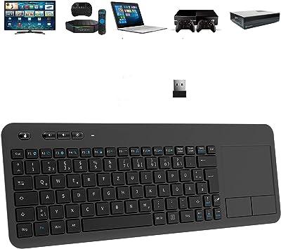 TedGem Teclado inalámbrico 2.4G con panel táctil ergonómico y receptor nano USB para laptop / Mac / PC / Android TV negro