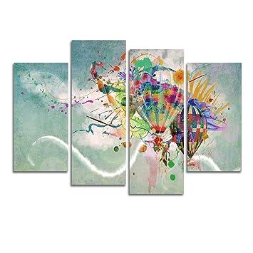 Hervorragend Wonzom Abstrakt 4/Set Heißluftballon Bild Auf Leinwand Gedruckt Art Wand  Leinwand Prints Gemälde Bild