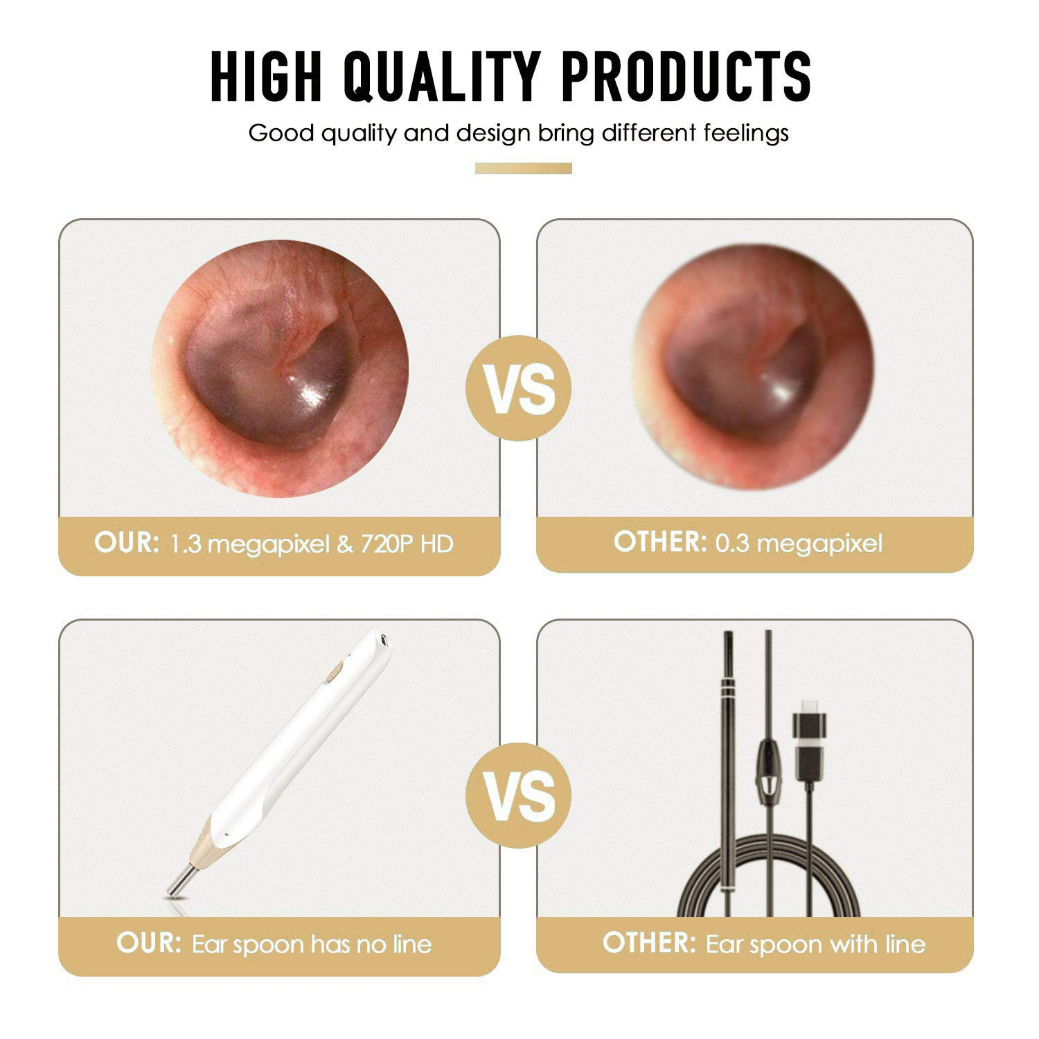 Xiaomax WiFi Digital Ear Scope Inspection Ear Camera Endoscope Earwax Cleaning Remover Tool for iPhone Android Devices Newest Wireless Ear Otoscope with Image Stabilizer System iPad Samsung