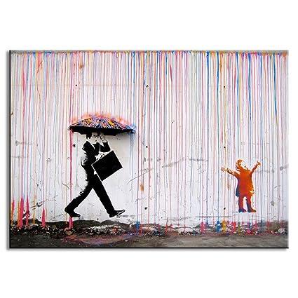 amazon com dvq art banksy art colorful rain prints paintings modern