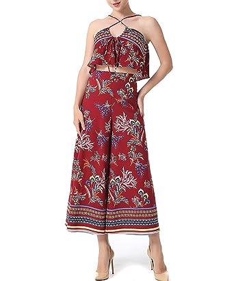 31e92e22063 HanGang Women s Spaghetti Strap Jumpsuits Summer Floral Print Wide Leg Long  Pants Rompers