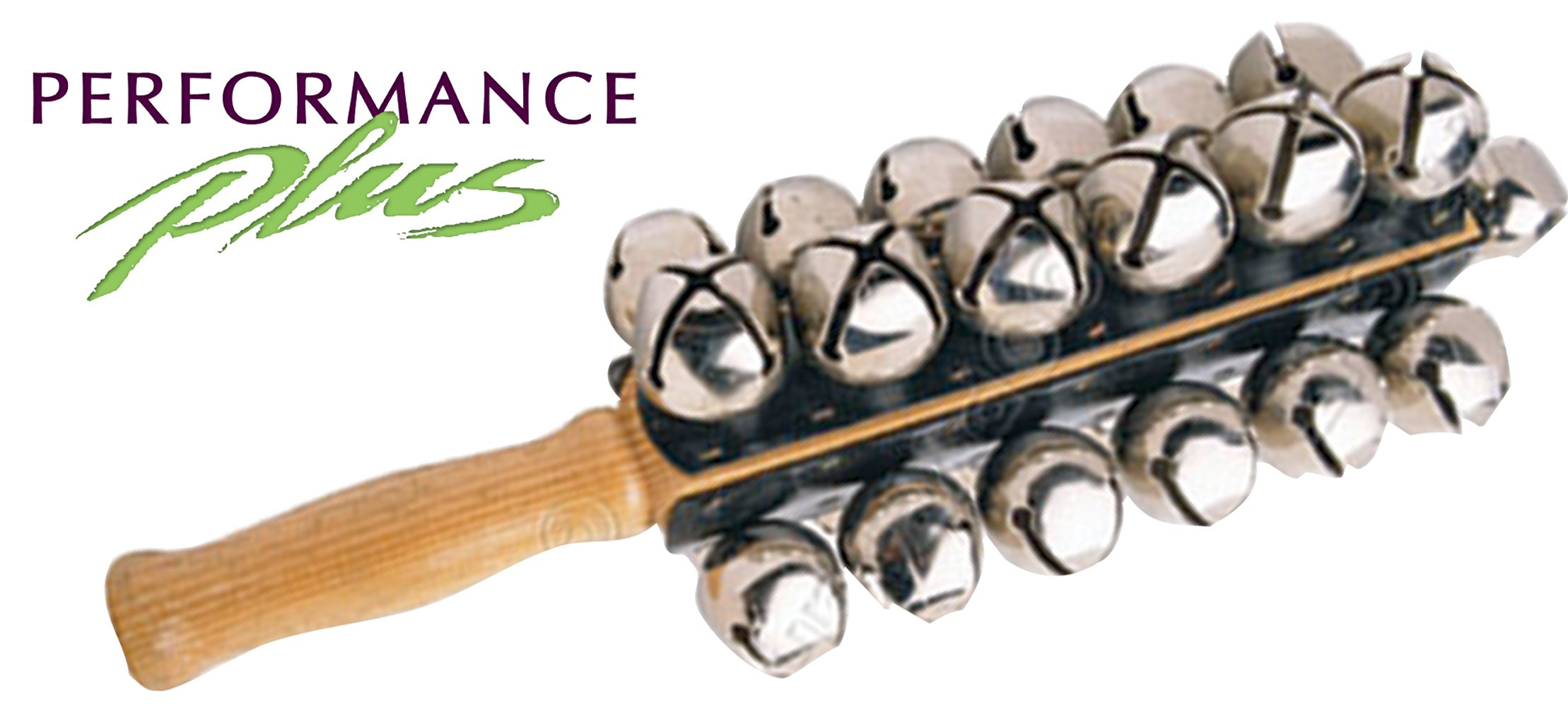 Performance Plus SBL-25 Professional Sleigh Bells- 25 Nickel Plated Jingle Bells- Four Rows with Hard Rock Maple Handle by Performance Plus