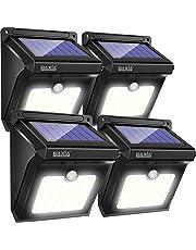 Lampe Solaire Exterieur, BAXiA Eclairage Solaire Sans Fil Lumière Solaire Imperméable avec Détecteur de Mouvement Lampe de Sécurité Projecteur Solaire pour Jardin Escalier Patio (400LM 4 Pièces)