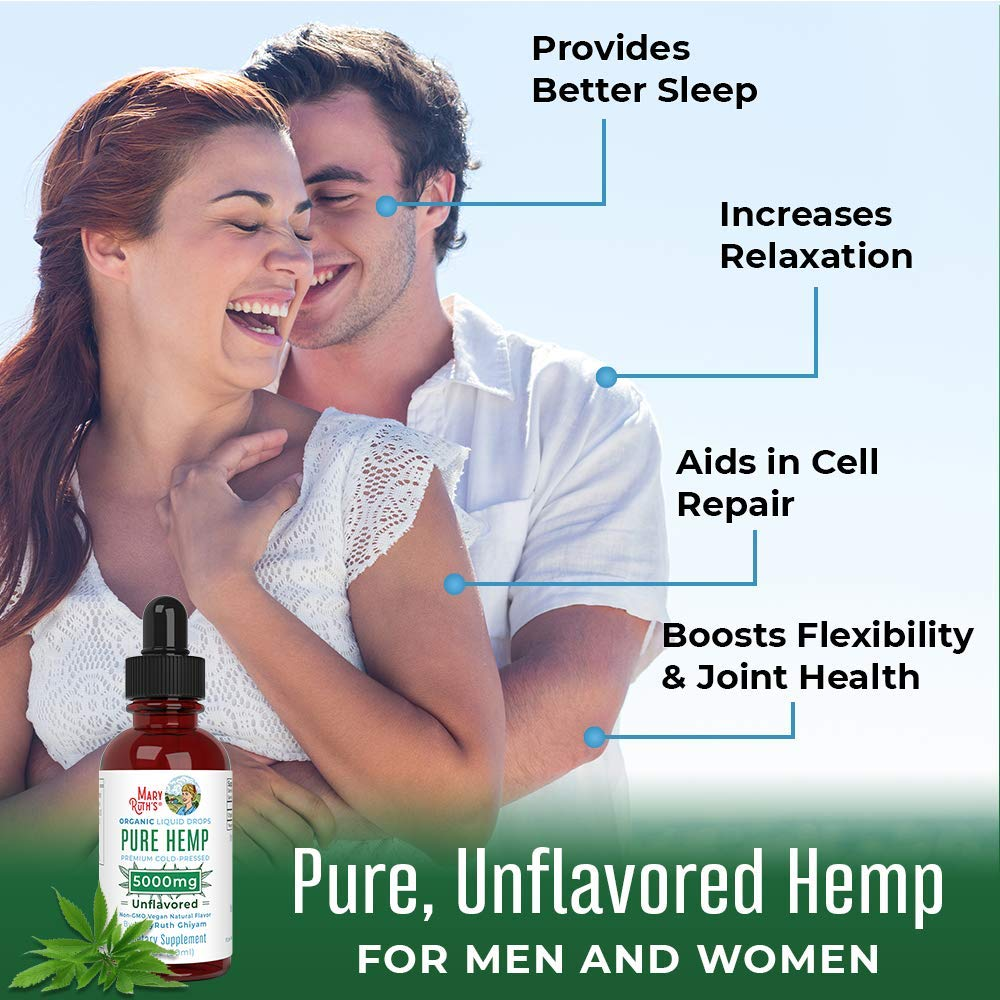 (2 Pack) Organic Pure Hemp Oil 5000mg by MaryRuth's for Pain & Stress Relief